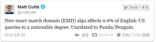 EMDアップデートは、Google.comの検索クエリの0.6% に影響を及ぼした。