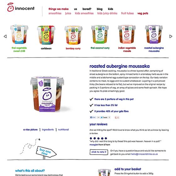 イギリスの食品ブランドInnocentの「roasted aubergine moussaka veg pot」スープの紹介ページ